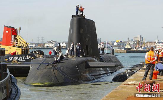 """资料图:英国皇家海军核动力潜艇""""机敏号""""。图片来源:CFP视觉中国"""