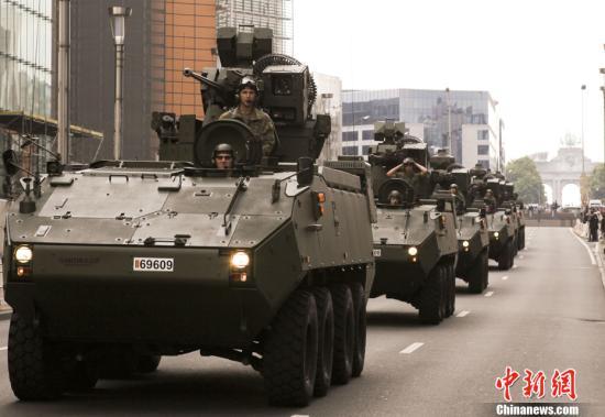 资料图片:比利时国庆阅兵。