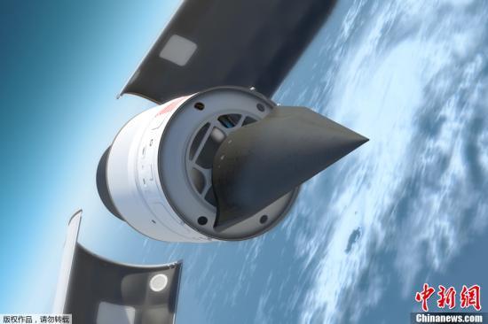 """图为由美国国防部高级研究计划局(DARPA)公布的""""猎鹰HTV-2号""""飞机效果图,显示的是""""猎鹰HTV-2号""""同发射火箭分离时的情景。"""