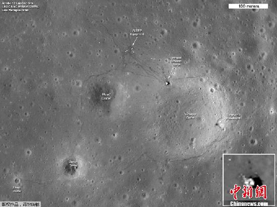 資料圖:美國國家宇航局(NASA)公布的阿波羅系列探測器在月球表面著陸的痕跡。