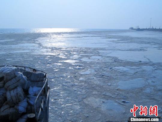 资料图:辽东湾海水浮冰。中新社发 宋太盛 摄