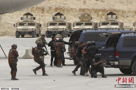 资料图:约旦和美国特种部队在演习。