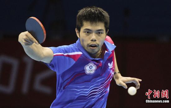 当地时间8月2日,伦敦奥运会乒乓球男单比赛,中华台北选手庄智渊不敌德国选手与奖牌无缘。图为庄智渊在比赛中。记者 廖攀 摄
