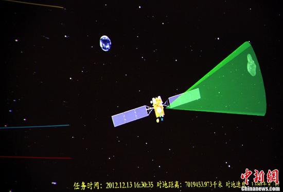 """图为北京航天飞行控制中心实时测控""""嫦娥二号""""飞越探测小行星任务。孙自法 摄"""