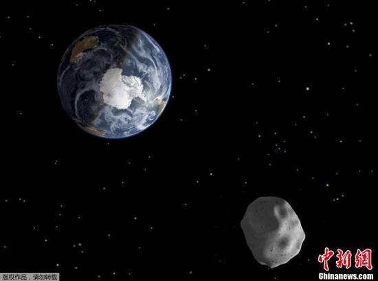 资料图片:小行星掠过地球效果图。
