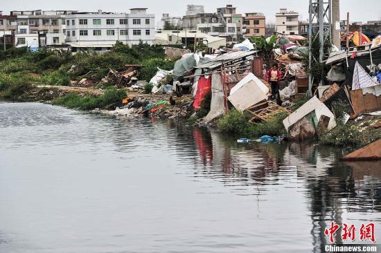 资料图:广东练江垃圾漂浮水浮莲丛生。洪坚鹏 摄
