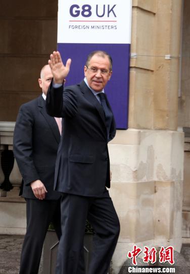 4月11日,八国集团外长会议在伦敦举行,俄罗斯外交部长拉夫罗夫出席会议。周兆军 摄