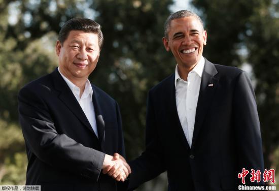 当地时间2013年6月7日,中国国家主席习近平与美国总统奥巴马在加利福尼亚州安纳伯格庄园举行中美元首会晤。