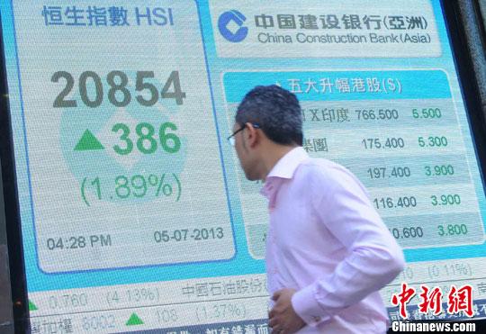 资料图:港股恒生指数。<a target='_blank' href='http://www.chinanews.com/'>中新社</a>发 邓庆乐 摄