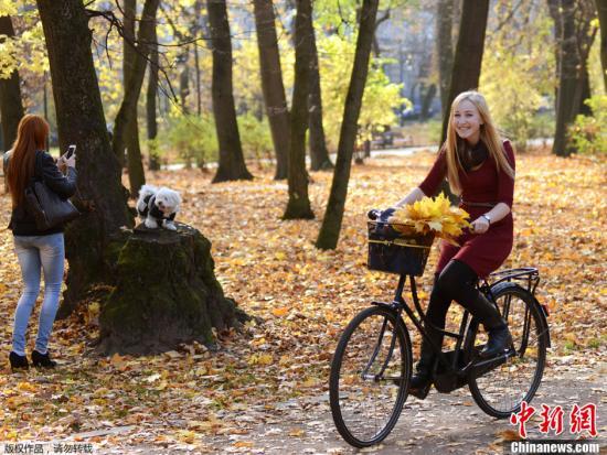 资料图:一个女孩在公园骑自行车,享受温暖的秋日。