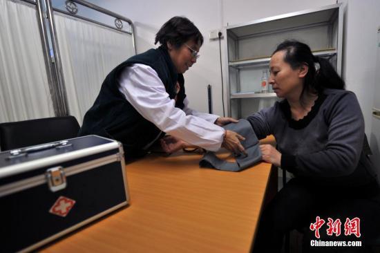 资料图:医生在测量血压。中新网记者 金硕 摄