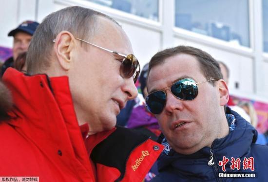 资料图:俄罗斯总统普京和俄罗斯总理梅德韦杰夫。