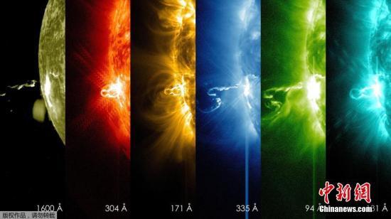 资料图:美国宇航局太阳动力学观测站观测到不同波长下的太阳耀斑图像。