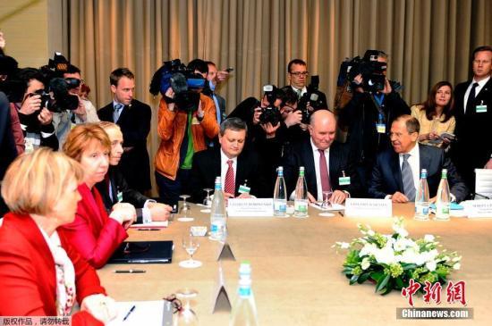 资料图:当地时间2014年4月17日,瑞士日内瓦,乌克兰问题四方会谈正式召开。与会者有美国国务卿克里、俄罗斯外长拉夫罗夫、乌克兰外长Andrii Deshchytsia和欧盟高级代表阿什顿。