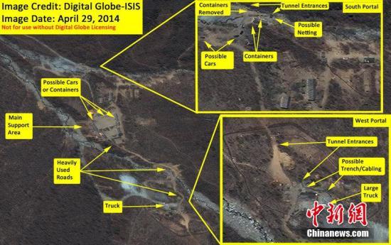 资料图片:朝鲜丰溪里核试验场卫星图。