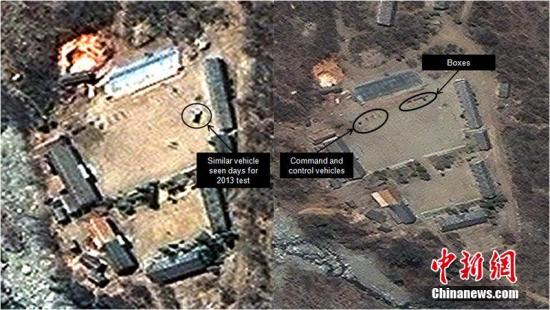 """当地时间2014年4月29日,朝鲜丰溪里核试验场卫星图。美国智库""""科学与国际安全研究所""""(ISIS)称,这些卫星图片显示,丰溪里核试验场的活动仍在继续,并与准备进行核试验的迹象相符。图片来源:CFP视觉中国"""