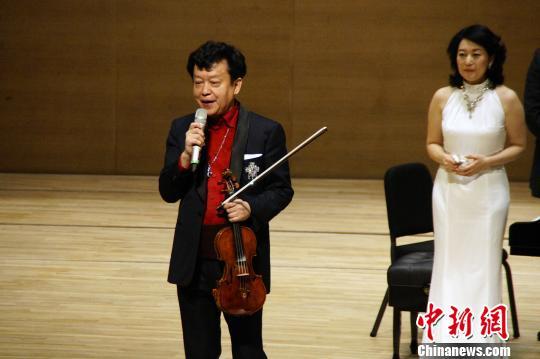 资料图:著名小提琴家盛中国与夫人濑田裕子。<a target='_blank' href='http://www-chinanews-com.wnyer.com/'>中新社</a>发 张道正 摄