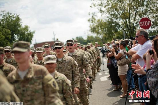 资料图:美国两百名佐治亚州国民警卫队士兵,完成在阿富汗9个月的任务之后回国。