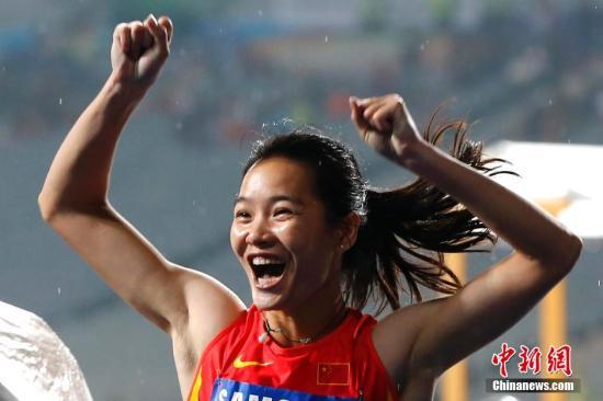 资料图:韦永丽创下今年女子百米亚洲最好成绩并成为首个拿下东京奥运女子百米资格的亚洲运动员。<a target='_blank' href=''>中新社</a>记者 富田 摄