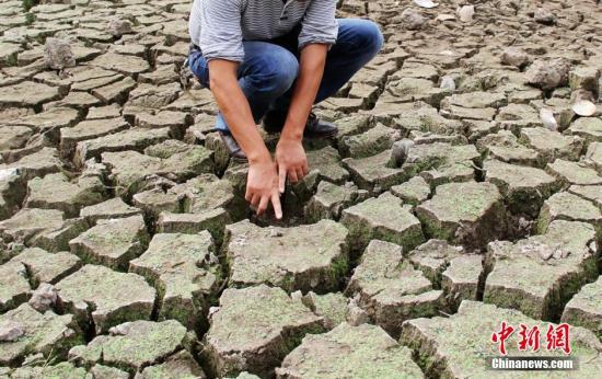 资料图:干涸开裂的水塘 李建平 摄
