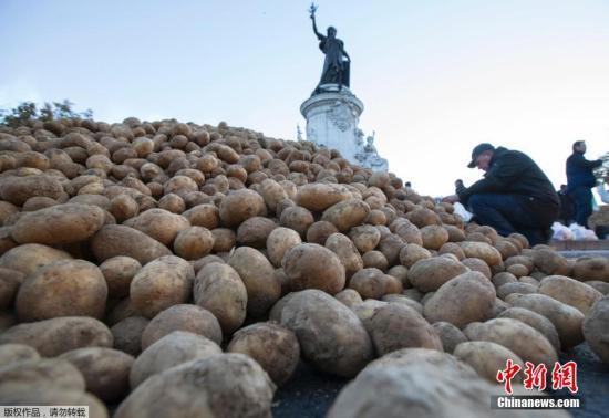 資料圖:法國巴黎,法國農民將近50噸土豆傾倒在共和國廣場的雕像下,以抗議蔬菜跌價和收益降低。近期,受俄羅斯因烏克蘭問題而停止進口西方國家的農產品等因素影響,法國蔬菜價格出現下跌。