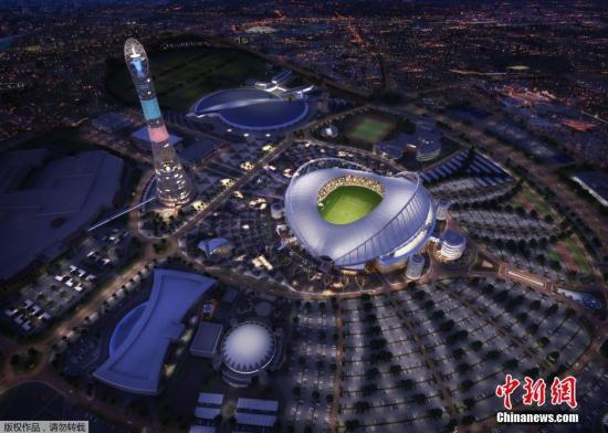 资料图:卡塔尔2022年世界赛场之一――哈利法国际体育场的电脑绘制效果图。