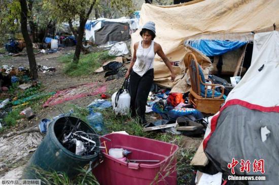 资料图:美国无家可归者。