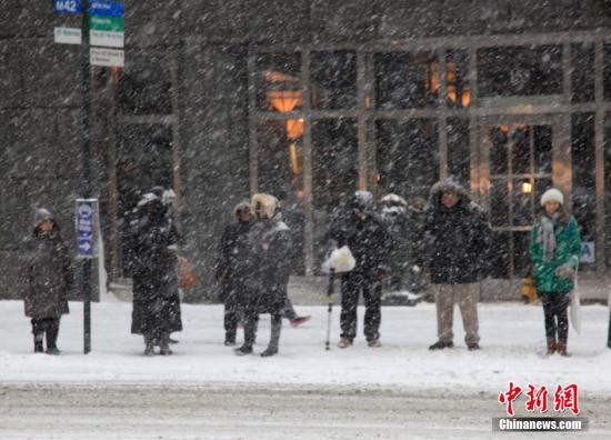 资料图:美国遭遇特大暴风雪天气的猛烈袭击。 <a target='_blank' href='http://www.chinanews.com/'>中新社</a>发 阮煜琳 摄