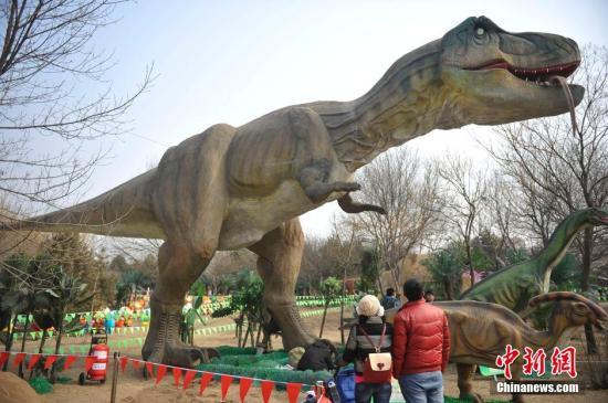 """白垩纪物种大灭绝事件导致恐龙从地球上消失。2月1日,山西太原动物园,华北最大的恐龙嘉年华""""重返侏罗纪""""正式对外开放。园内放置了侏罗纪时期、白垩纪时期、三叠纪时期的各类高仿恐龙100余只,吸引了众多游客参观。中新社发 韦亮 摄"""
