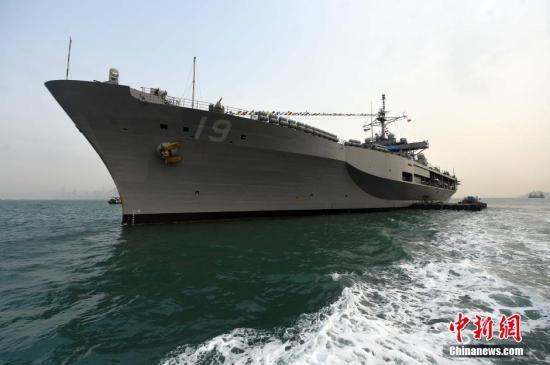 """资料图:美国海军第七舰队旗舰""""蓝岭号""""。 <a target='_blank' href='http://www.chinanews.com/'>中新社</a>发 张宇 摄"""