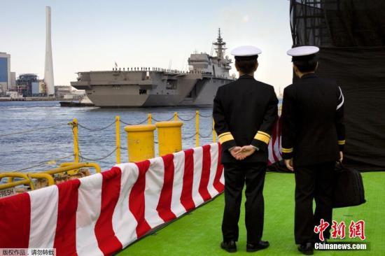 资料图:日本海上自卫队舰船及人员。
