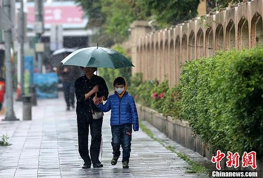 资料图:台北雨中的行人。<a target='_blank' href='http://www.chinanews.com/'>中新社</a>发 陈小愿 摄