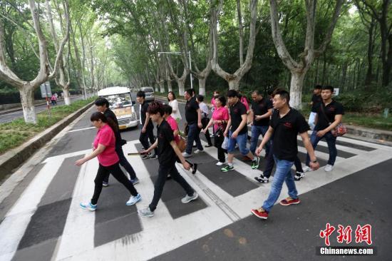 资料图:行人在南京中山陵园风景区内的道路上过斑马线。发 泱波 摄
