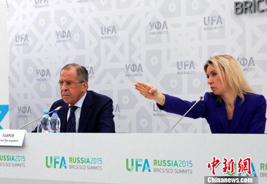 7月9日,俄罗斯外长拉夫罗夫在乌法举行的新闻发布会上表示,美国正在人为制造对俄罗斯的敌意,目的是在俄边境附近建造军事设施。中新社发 王修君 摄