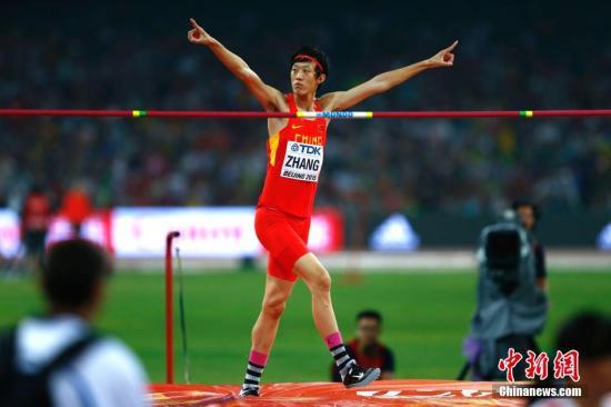 资料图:张国伟在比赛中庆祝。发 富田 摄