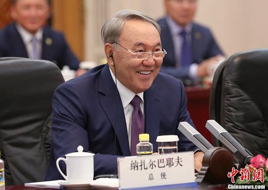 资料图片:哈萨克斯坦总统纳扎尔巴耶夫。中新社发 刘震 摄