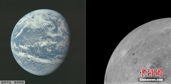 资料图:左图为1969年7月16日,阿波罗11号执行任务中,10000海里以外拍摄的地球景象;右图为1969年7月21日,阿波罗11号执行任务时拍摄的月球表面图像。