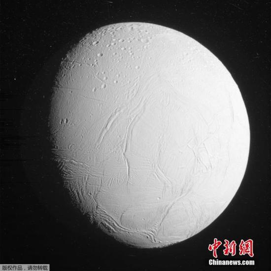 """资料图:NASA发布""""卡西尼号""""探测器拍摄的土卫二的图片。"""