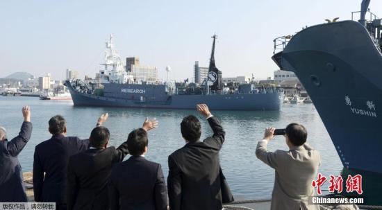 资料图:2015年底日本派往南极的捕鲸船。