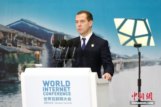 俄罗斯总理梅德韦杰夫。 <a target='_blank' href='http://www.chinanews.com/'>中新社</a>记者 盛佳鹏 摄