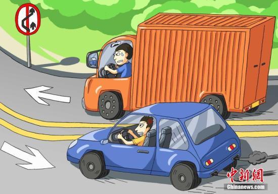 """资料图为民警绘制的""""超车""""交通宣传漫画图。"""