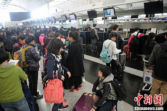 2月6日下午,香港国际机场柜台操作如常,赴台旅客正在轮候办理登机手续。当天淩晨3时57分许,台湾高雄发生里氏规模6.4级地震。台湾本岛多地震感明显,最大震度为6级。中新社记者 谭达明 摄