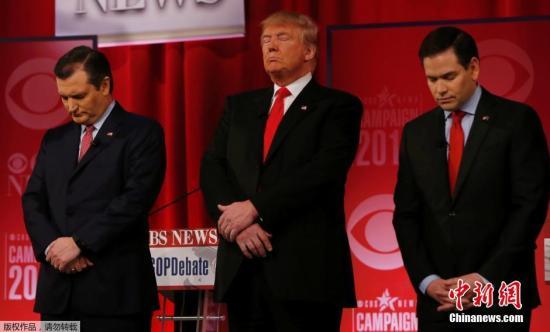 资料图:共和党总统候选人克鲁兹、特朗普及卢比奥。