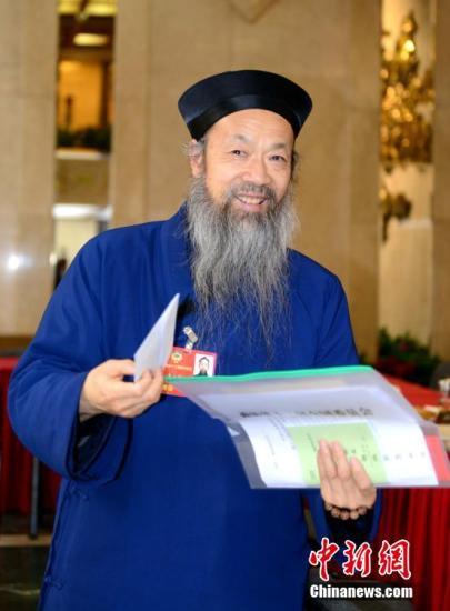资料图 全国政协委员、中国道教协会会长李光富。 记者 王东明 摄