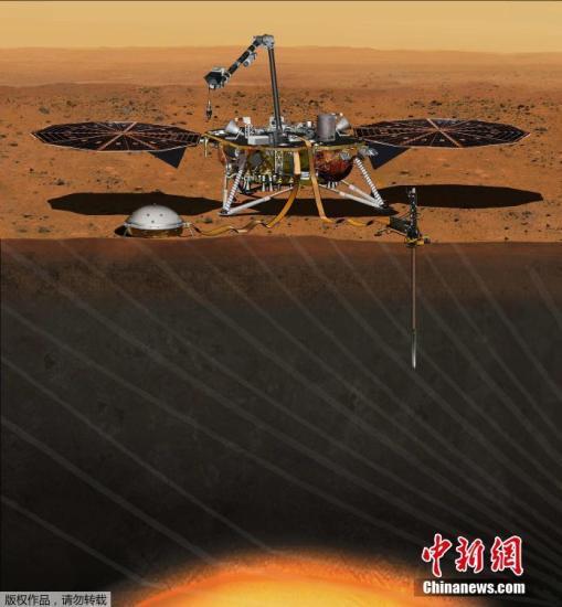 资料图为火星探测器InSight概念图。