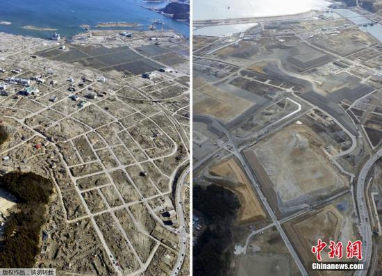 资料图:2011年4月5日(左)和2016年2月16日拍摄的日本岩手县陆前高田市的对比照片。
