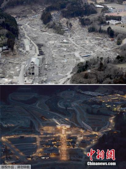 2011年3月22日(上)和2016年3月4日拍摄的日本宫城县女川市的拼版照片。 2011年3月11日,日本东北部海域发生9.0级强震,引发特大海啸。由东京电力公司运营的福岛核电站因海水灌入导致断电,造成灾难性核泄漏。灾难导致超过1.5万人遇难,2000余人失踪。今年3月11日是大地震的五周年纪念日。灾难发生的瞬间已成为记忆,而在此之后的重建家园和恢复正常生活则成为当地灾民长期的生活主题。地震发生时,最多曾有47万余名灾民在各地避难。而日本媒体今年3月6日公布的一项调查结果显示,截至今年1月底,仍有多达5.9万名灾民住在临时安置房中,所有灾民得到安置最快也要等到2021年。尽管日本政府一直...