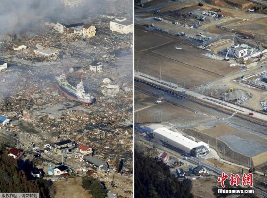 2011年3月12日(左)和2016年2月16日拍摄的日本宫城县气仙沼市的拼版照片。 2011年3月11日,日本东北部海域发生9.0级强震,引发特大海啸。由东京电力公司运营的福岛核电站因海水灌入导致断电,造成灾难性核泄漏。灾难导致超过1.5万人遇难,2000余人失踪。今年3月11日是大地震的五周年纪念日。灾难发生的瞬间已成为记忆,而在此之后的重建家园和恢复正常生活则成为当地灾民长期的生活主题。地震发生时,最多曾有47万余名灾民在各地避难。而日本媒体今年3月6日公布的一项调查结果显示,截至今年1月底,仍有多达5.9万名灾民住在临时安置房中,所有灾民得到安置最快也要等到2021年。尽管日本政府...