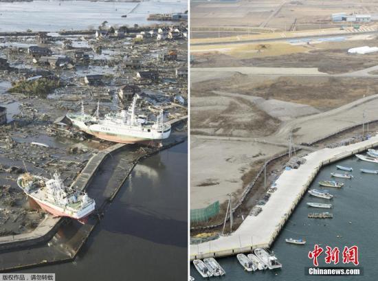 2011年3月12日(左)和2016年3月3日拍摄的日本宫城县东松岛市的拼版照片。