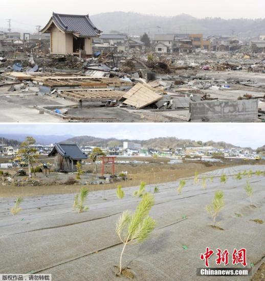 2018-12-14(上)和2018-12-14拍摄的日本福岛县岩城的拼版照片。 2018-12-14,日本东北部海域发生9.0级强震,引发特大海啸。由东京电力公司运营的福岛核电站因海水灌入导致断电,造成灾难性核泄漏。灾难导致超过1.5万人遇难,2000余人失踪。今年3月11日是大地震的五周年纪念日。灾难发生的瞬间已成为记忆,而在此之后的重建家园和恢复正常生活则成为当地灾民长期的生活主题。地震发生时,最多曾有47万余名灾民在各地避难。而日本媒体今年3月6日公布的一项调查结果显示,截至今年1月底,仍有多达5.9万名灾民住在临时安置房中,所有灾民得到安置最快也要等到2021年。尽管日本政府一直...